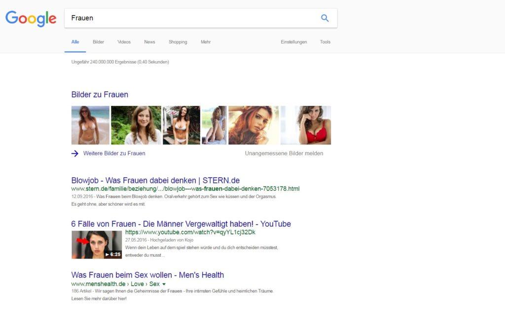 """Screenshot: Suchergebnisse Google """"Frauen"""""""