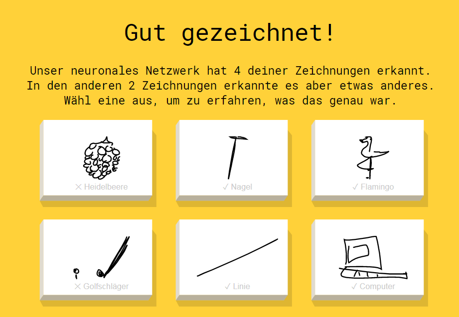 Screenshot: quickdraw-ergebnisse